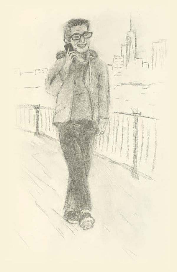 Charcoal sketch of me walking with phone in hand